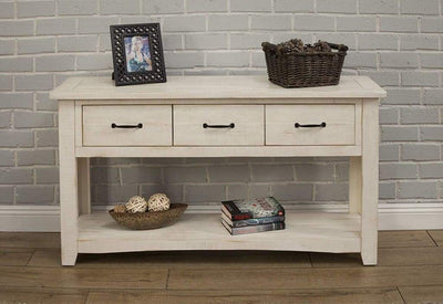 Wooden Console Table With Three Drawers, Antique White