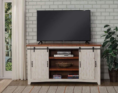 Dual Tone Wood and Metal TV Stand With 2 Mesh Style Doors, White and Brown