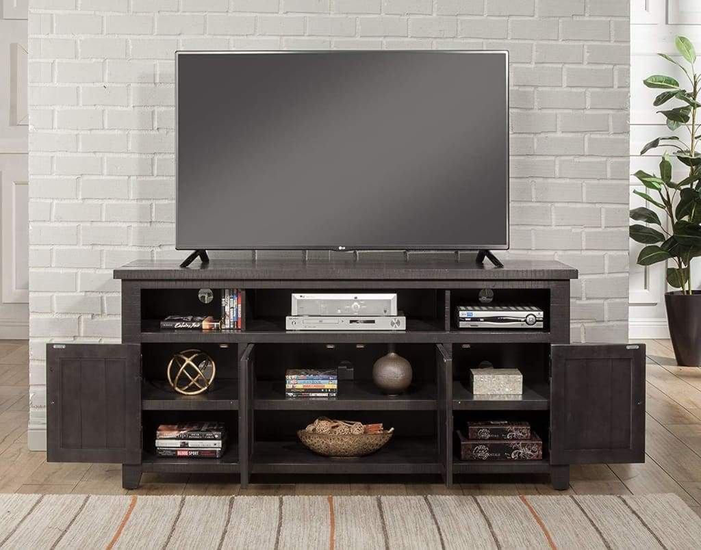 Wooden TV Stand With 3 Shelves and Cabinets, Gray