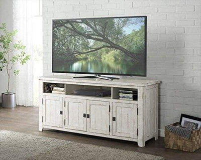 Wooden TV Stand With 3 Shelves and Cabinets, White