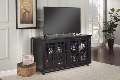 Wooden TV Stand With Trellis Detailed Doors, Antiqued Black