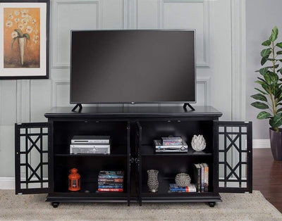 Wooden TV Stand With Trellis Detailed Doors Antiqued Black SDF-91002