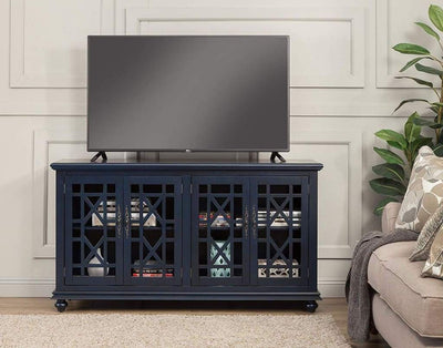 Wooden TV Stand With Trellis Detailed Doors, Blue