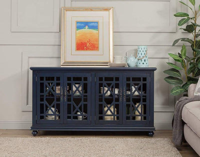 Wooden TV Stand With Trellis Detailed Doors Blue SDF-91005