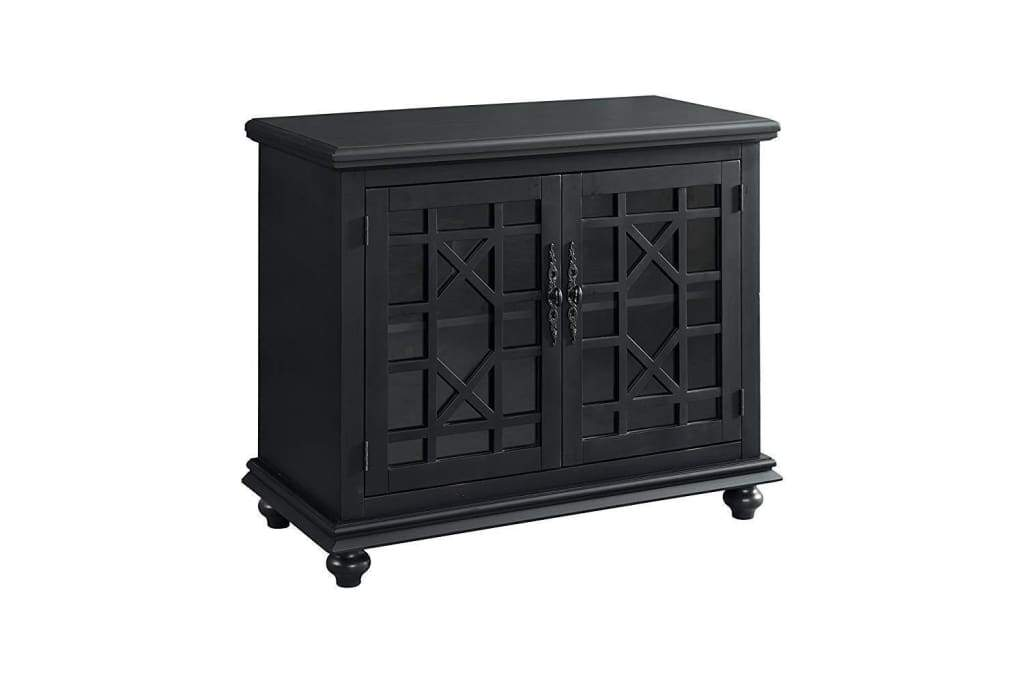 Wooden TV Stand With Trellis Detailed Doors, Antique Black
