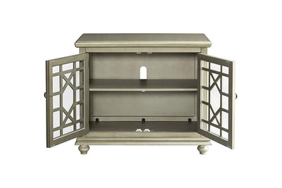 Wooden TV Stand With Bun Feet Antique Silver SDF-91034