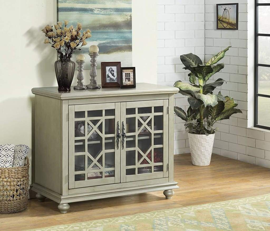 Wooden TV Stand With Bun Feet, Antique Silver