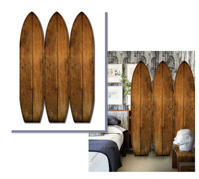 Plank Style Surfboard Shaped 3 Panel Wooden Room Divider Brown - BM205782 By Casagear Home BM205782