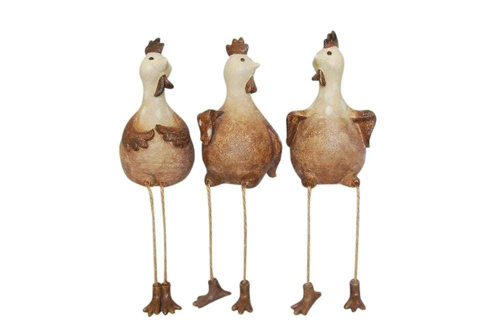Up-Scaling Set Of 3 Decorative Resin Sitting Rooster, Brown And White