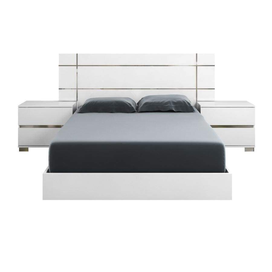 Acrylic Lacquer Queen Size Platform Bed White