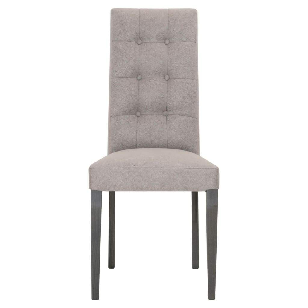 Fabric Upholstery Dining Chair With Button Tufted Back, Gray, Set Of Two - SIF-2150-GBHG-VGRY