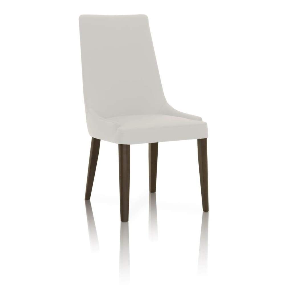 Dining Chairs With Sleek Wooden Legs Set of 2 White and Brown