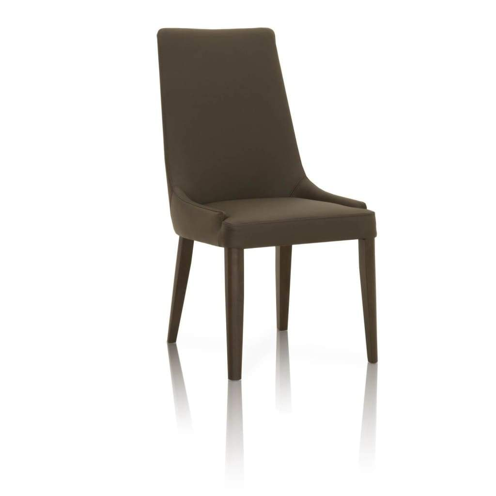 Dining Chairs Wooden Legs Dark Umber Brown Leatherette