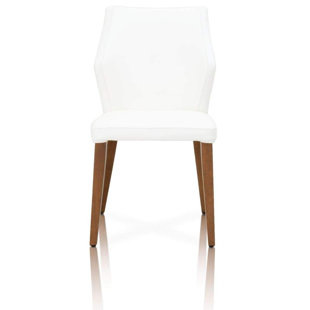 Leather Upholstery Compact Dining Chair With Walnut legs, Alabaster, Set Of Two - SIF-5132-ALA-WAL