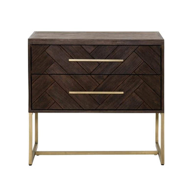 Mosaic Patterned Two Drawers Nightstand, Rustic Java Brown