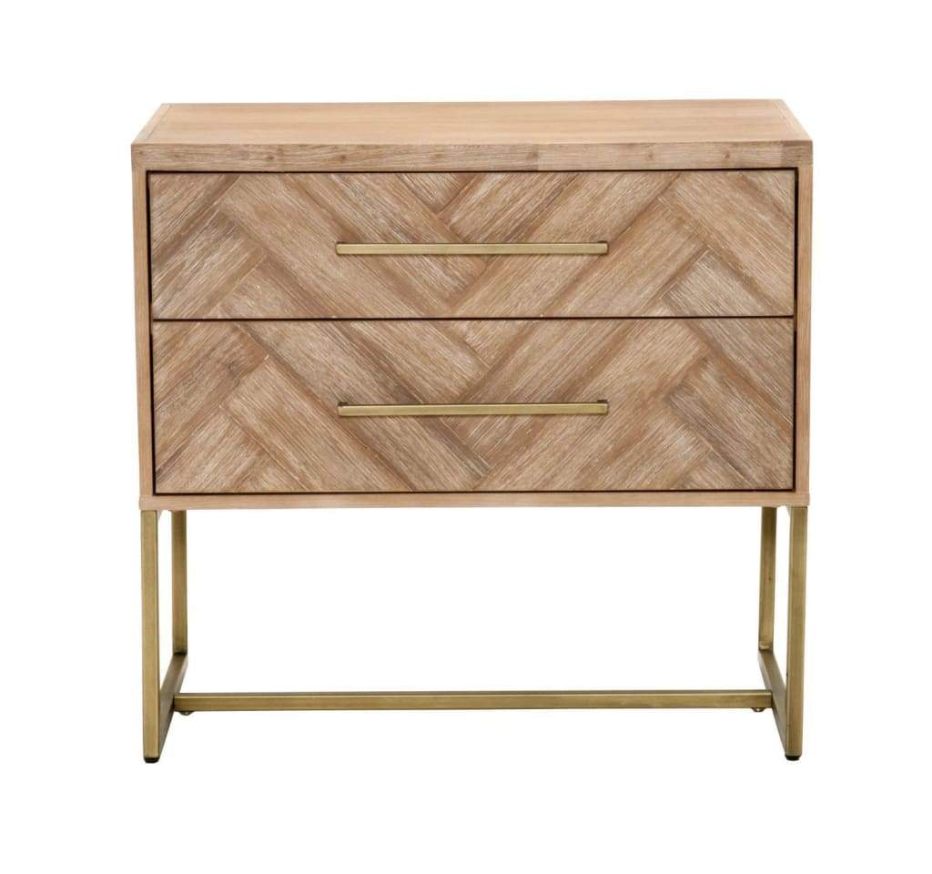 Mosaic Patterned Two Drawers Nightstand, Stone Wash Brown