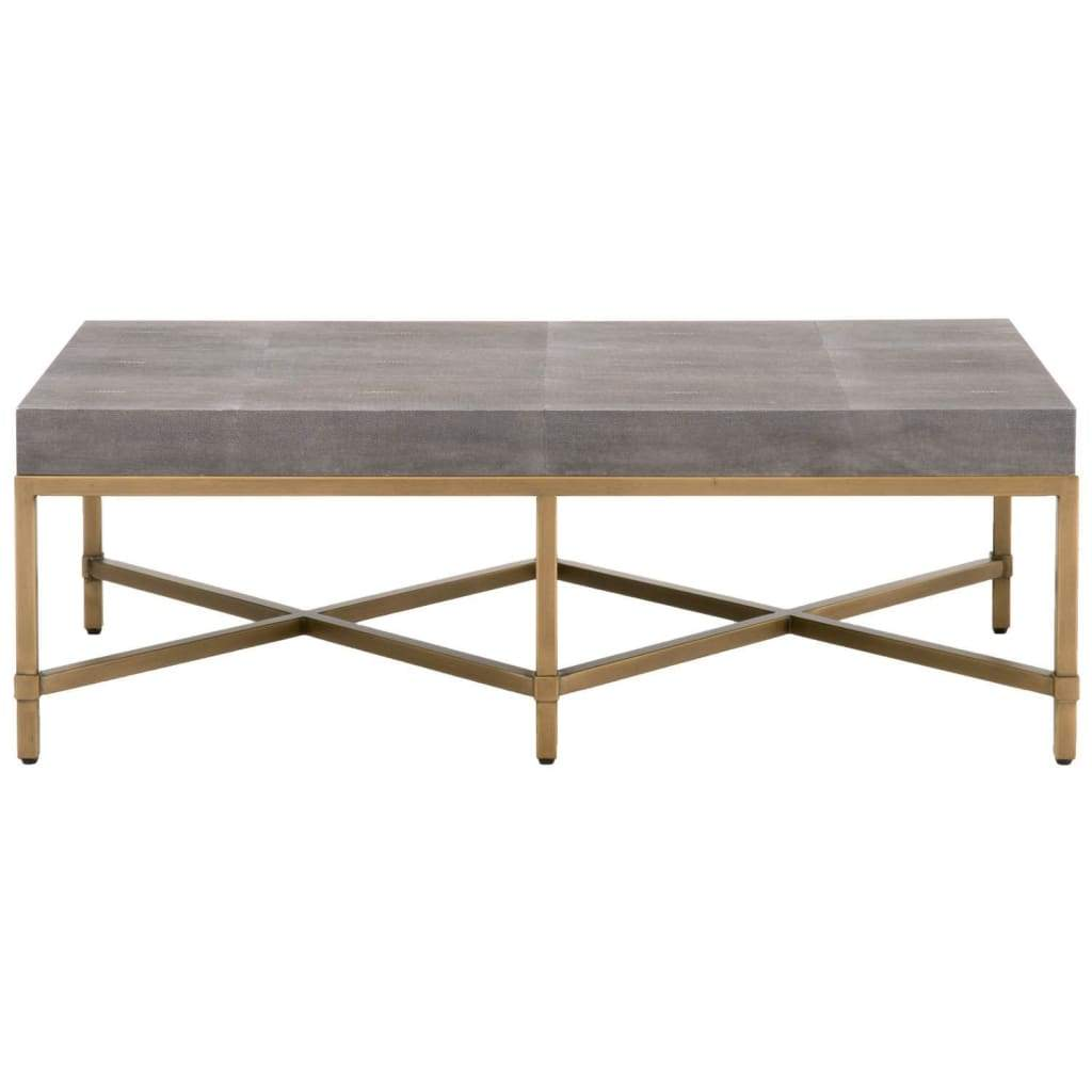 Resin Top Rectangular Coffee Table With Metal Base, Gray And Gold - SIF-6117-GRY-SHG-GLD