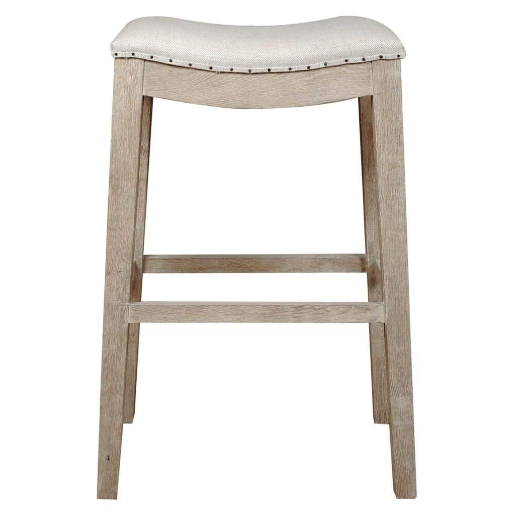 Elevated Upholstered Barstool, Stone Wash Brown
