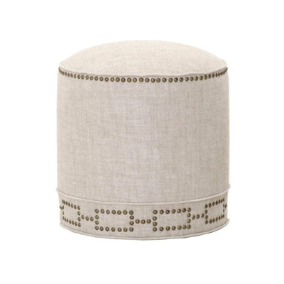 Simply Awesome Fully Upholstered Round Ottoman, Bisque Cream