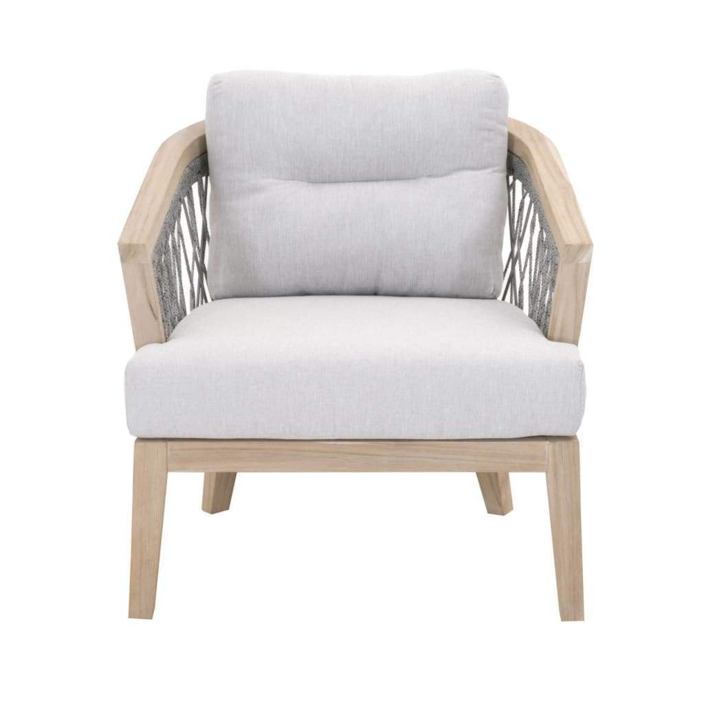 Wood And Fabric Club Chair With Loose Back Cushion, Gray - SIF-6821-PLA-PUM-GT
