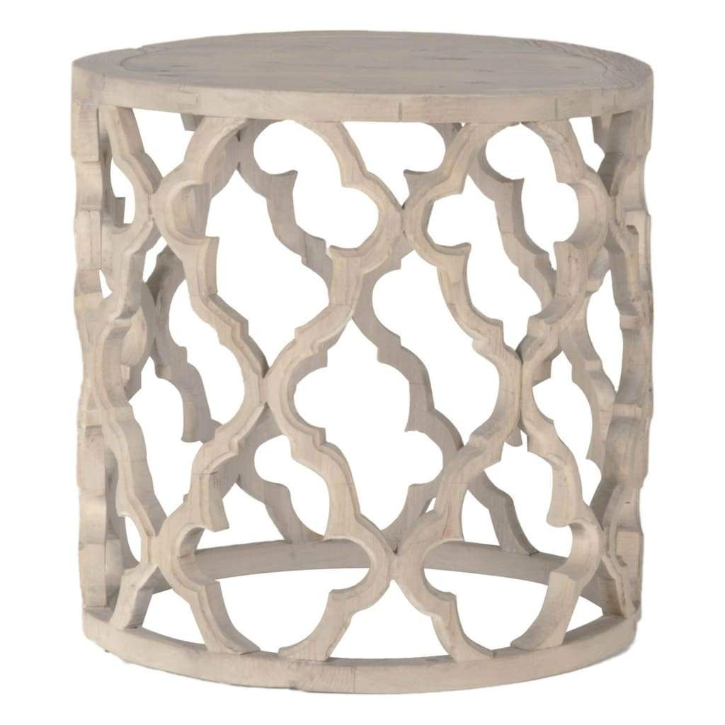 End Table Wood Quatrefoil Design Round
