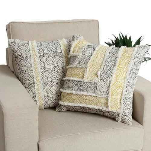 18 x 18 Cotton Hand Woven Pillows with Patch Work Details, Set of 2, Multicolor - CC00056 By Casagear Home