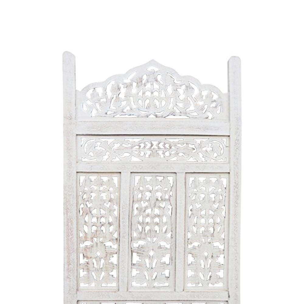 Antique White 4 Panel Handcrafted Wood Room Partitions