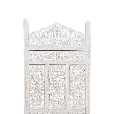 Aesthetically Carved 4 Panel Wooden Partition Screen/Room Divider Distressed White UPT-148945