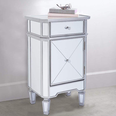 1 Door Storage Cabinet with 1 Drawer and Mirror Inserts, Gray and Silver By The Urban Port