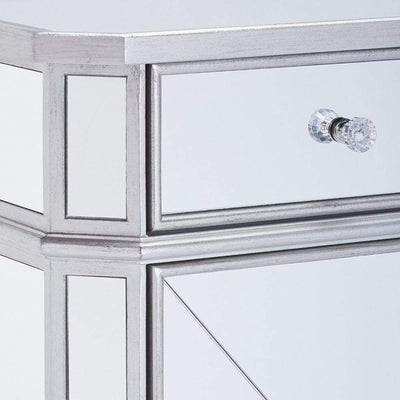 Single Drawer Mirrored Accent Cabinet Silver & Clear By The Urban Port UPT-157137