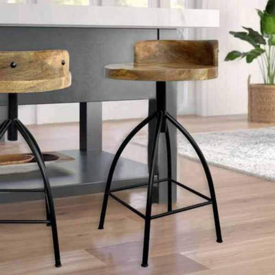 28 Industrial Style Adjustable Counter Stool Black and Brown By The Urban Port UPT-165867