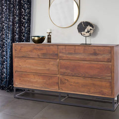 Modern Acacia Wood Dresser cum Display Unit With Metal Base, Walnut Brown and Black