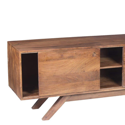 Mid Century Modern Acacia Wood Tv Unit With Wide Storage Walnut Brown UPT-182998