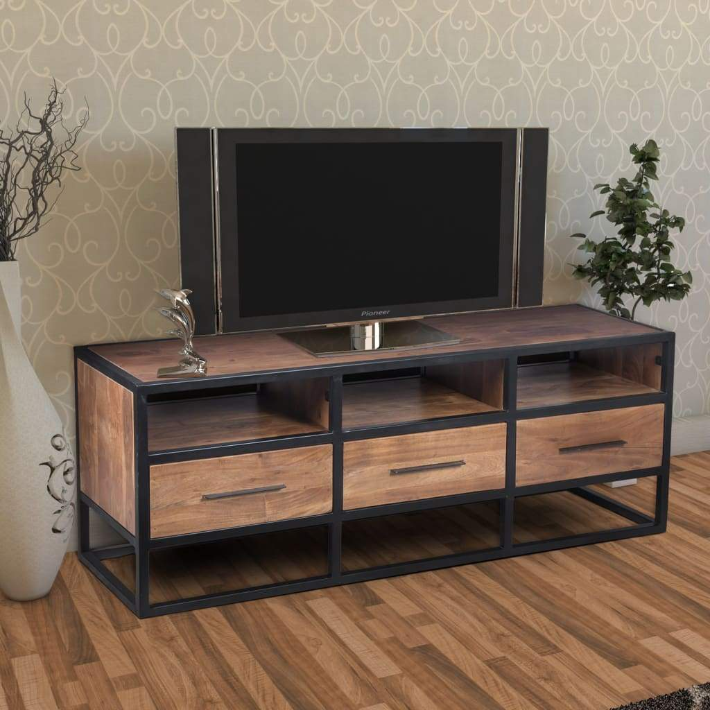 Acacia Wood Tv Unit With Metal Frame, Walnut Brown and Black