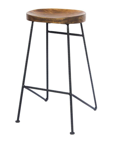 Mango Wood Saddle Seat Bar Stool With Iron Rod Legs Brown and Black UPT-183797