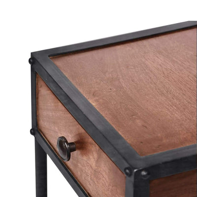 Metal Framed Mango Wood End Table with Drawer and Open Base Brown and Black UPT-186119