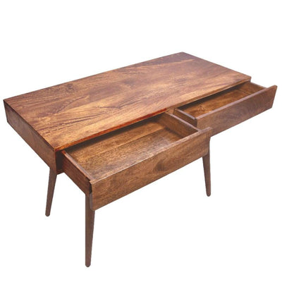 Mango Wood Writing Desk with Two Drawers and Tapered Legs Brown UPT-186126