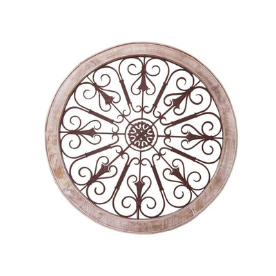 Round Intricate Metal Scrollwork Wall Decor with Wooden Frame Cream and Brown UPT-187976