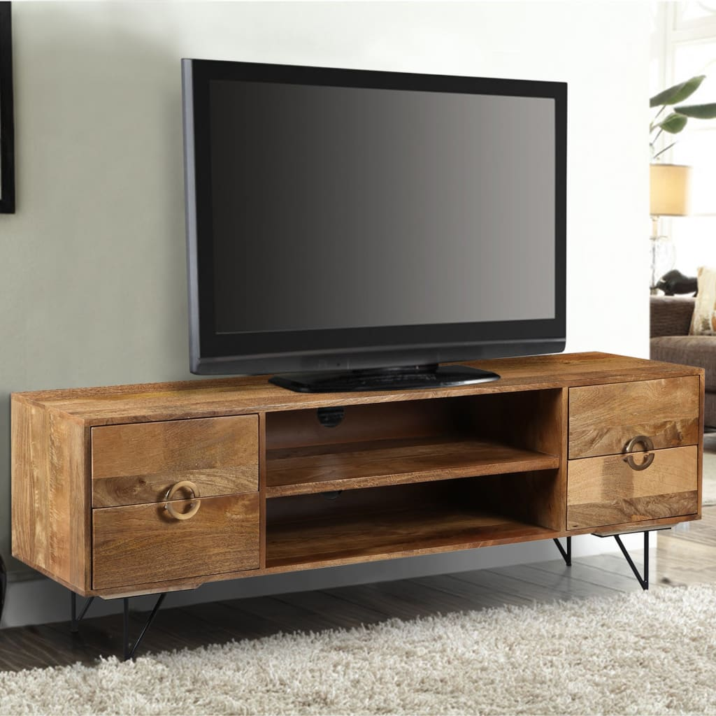 63 Inch Mango Wood TV Cabinet with Spacious Storage, Natural Brown and Black By The Urban Port