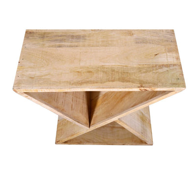 Handcrafted Mango Wood Z Shaped End Table with Open Bottom Shelf Brown UPT-195130