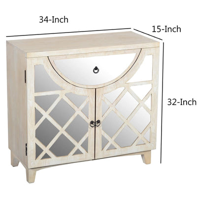 Mango Wood Cabinet with Mirrored look Steel Insert Door Storage Beige UPT-195275