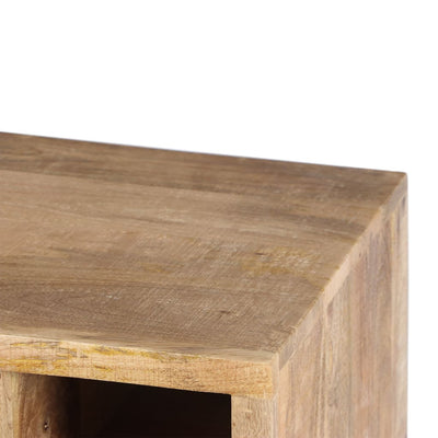 Transitional Mango Wood Side Table with Open Cubbies and Door Storage Natural Brown UPT-195279