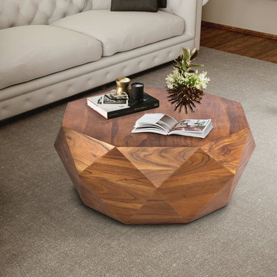 Diamond Shape Acacia Wood Coffee Table With Smooth Top, Dark Brown By The Urban Port