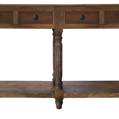 Traditional Wooden Console Table with 4 Drawers and Turned Legs Brown By The Urban Port UPT-197308
