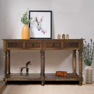 Traditional Wooden Console Table with 4 Drawers and Turned Legs, Brown By The Urban Port