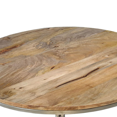 Round Wooden Top Coffee Table with Lattice Metal Base Brown and Silver By The Urban Port UPT-197309