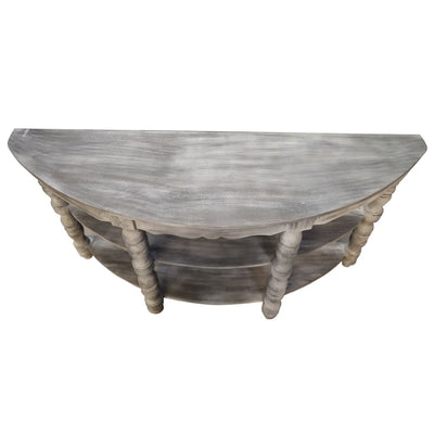 Half moon Shaped Wooden Console Table with 2 Shelves and Turned Legs Gray By The Urban Port UPT-197310
