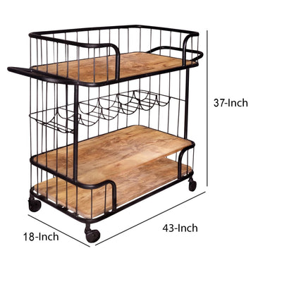 Metal Frame Bar Cart with Wooden Top and 2 Shelves Black and Brown By The Urban Port UPT-197314