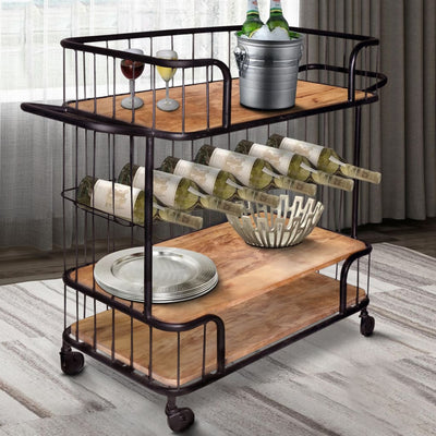 Metal Frame Bar Cart with Wooden Top and 2 Shelves, Black and Brown By The Urban Port