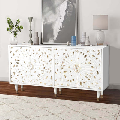 4 Door Wooden Sideboard with Engraved Sunburst Design Front White and Gold By The Urban Port UPT-197864